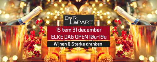 Aangepaste openingsuren BAR àPART van 15 tem 31 december