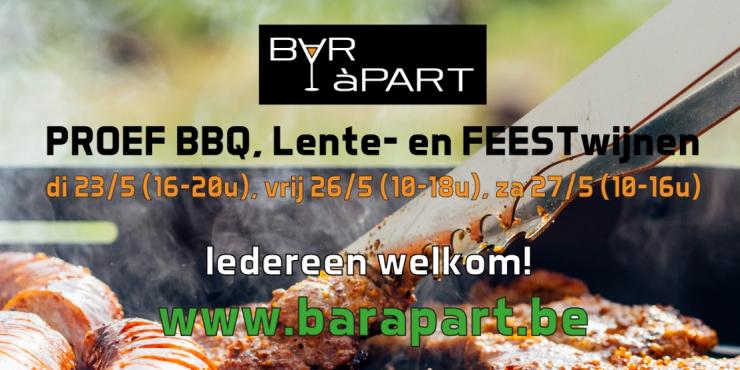 Proef BBQ, Lente- en FEESTwijnen op 23, 26 en 27 mei