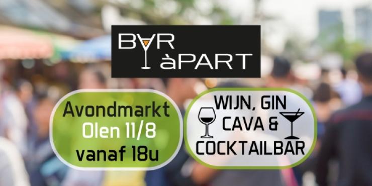 Cocktail-, gin-, wijn- en cavabar op Avondmarkt Olen vrij 11/8/2017