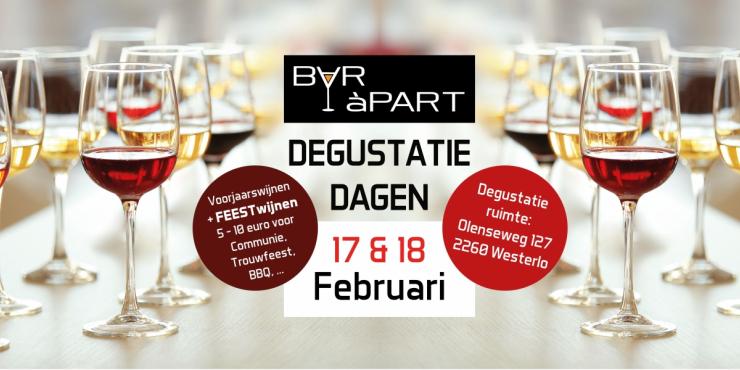 Degustatiedagen BAR àPART 17 en 18 FEBRUARI