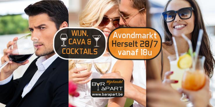 Cocktail-, wijn- en cavabar op Avondmarkt Herselt za 28 juli 2018