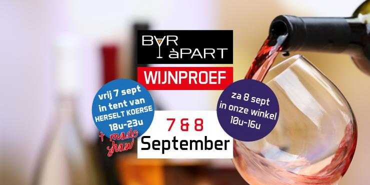 Wijnproef vrijdagavond 7 september en zaterdag 8 september
