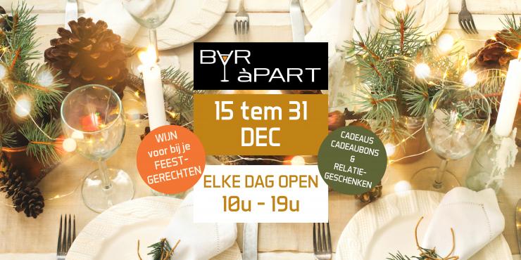 BAR àPART 15 tem 31 december 2018 ELKE DAG OPEN 10-19u